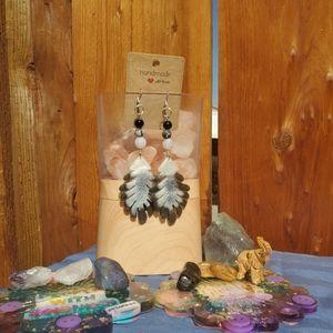 Handmade zebra Jasper & Obsidian dangle earrings